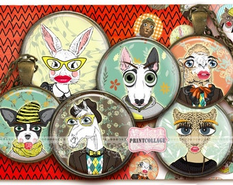 Retro cartoon Animals Digital Collage Cabochon images 1.5 inch, 18 mm, 14 mm, 1 inch circle Printable Instant download bottle caps c170