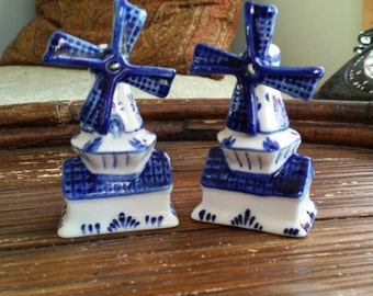 Delft Style Windmill Salt and Pepper Shakers