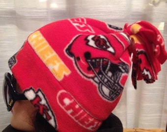 Chiefs fleece fun hat - soft warm stretchy - one size fits all