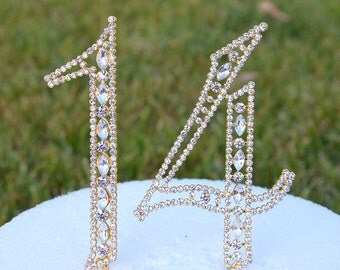 """5"""" Gold Crystal Bling Rhinestone NUMBER Fourteen 14 Cake Topper 14th Birthday Parties Anniversary Free US Shipping CT141"""