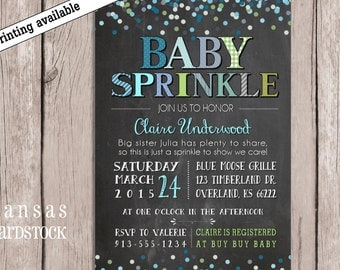 Sprinkle Shower Invitation, Baby Boy Sprinkle Shower, Sprinkle invitation, Baby Boy Shower, Chalkboard baby shower, DIY printable,