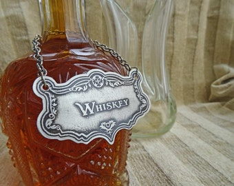 Whiskey Decanter Label, Etched German Silver-Nickel, Traditional Decanter Barware, Liquor, Gifts For Him, Housewarming, Handmade Metal Label