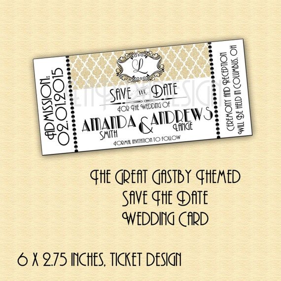 Great Gatsby, save the date invitation, RSVP card, Roaring 20's ...