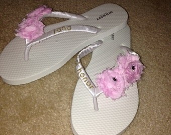 Custom Wedding Flip Flops, Bridesmaid Flip Flops, Bridal Party Flip Flops, ANY COLOR AVAILABLE