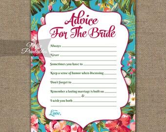 Bridal Shower Advice Cards - Tropical Bridal Shower Games - Instant Download Luau Bridal - Printable Hawaiian Floral Bridal Advice Card TRP