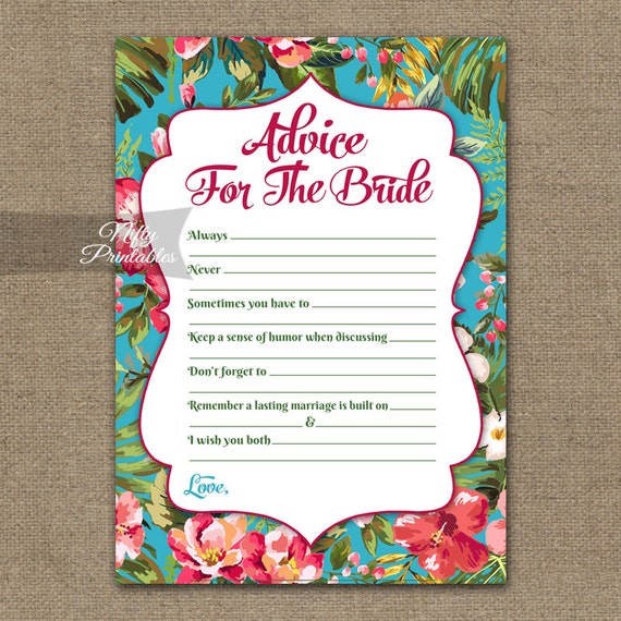Kitchen Tea Quotes For Cards: Bridal Shower Advice Cards Tropical Bridal Shower Games