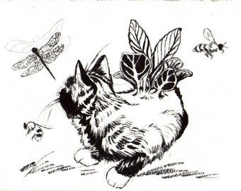 original ink drawing - cat and bugs
