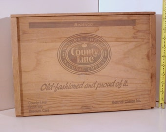 County Line slide top wooden cheese box, Old-Fashioned and Proud of it.