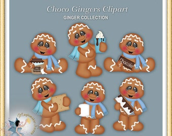 Gingerbread Clipart, Chocolate Winter