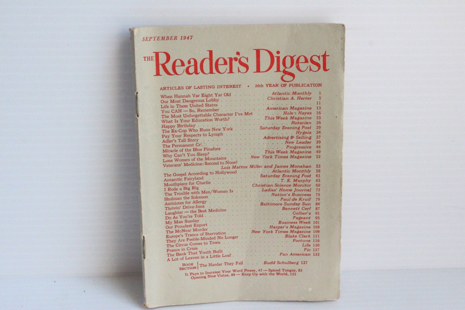 READER'S DIGEST September 1947 Vintage Magazine Vintage