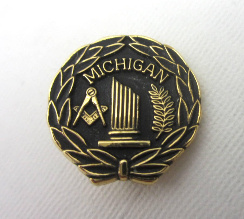 Vintage 24k Gold Plated Masonic Freemason Michigan Widows Pin