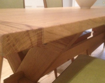Oak x (trestle) farmhouse dining table