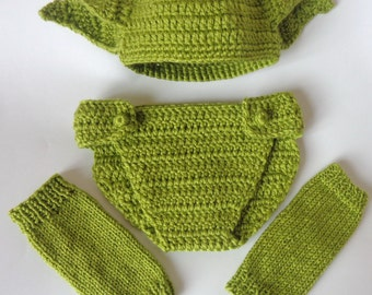 Yoda  Costume Set 3pcs For Boy- Baby Hat, Diaper Cover And Leg Warmers From Star Wars Newborn Hat Halloween / Cosplay