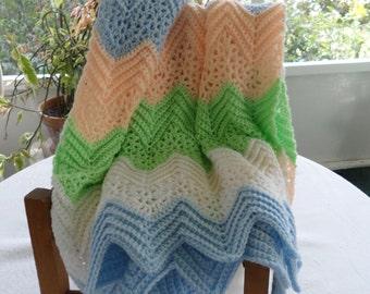 Vintage Crocheted Baby Blanket Chevron Crochet Baby Blanket Baby Afghan Pastel Baby Blanket Pastel Nursery Decor Chevron Crib Blanket