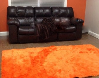 5' x 8' Orange  Faux fur rug non-slip washable very plush high pile cool look so so soft Free Shipping