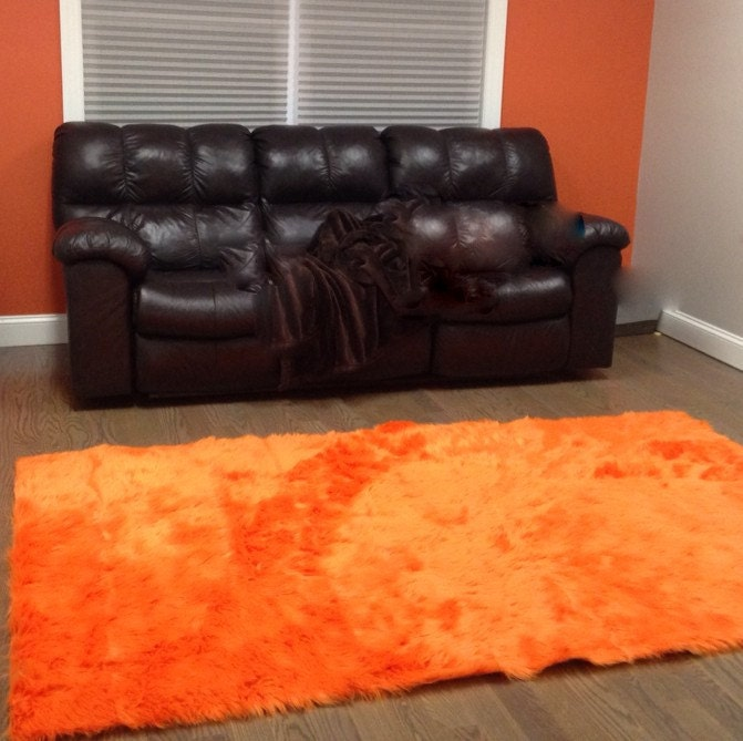 5' X 8' Orange Faux Fur Rug Non-slip Washable Very