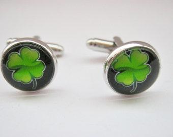"Irish Cufflinks Four Leaf Clover Shamrock 14mm (1/2"") Mens / Boys Celtic Cufflinks St Patrick's Day Jewelry Gifts for Men Paddy's Day"