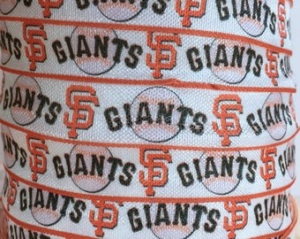 "5/8"" FOE San Francisco Giants Baseball Fold Over Elastic Ribbon, Baseball FOE, Giants Ribbon, Trim, Ribbon By The Yard by KC Elastic Ties"