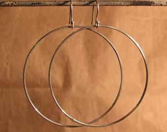 Large Sterling Hoop Dangles