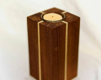Handmade Tea Light Wooden (Cedar) Candle Holder/Pillar