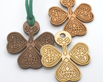 IRISH KNOT SHAMROCK - Wooden Charm Laser Cut and Engraved