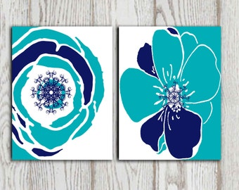 Navy and Teal Flower wall art prints Set of 2 Navy and Turquoise Flower wall decor Flower printable Home decor Bedroom art 5x7 8x10 DOWNLOAD