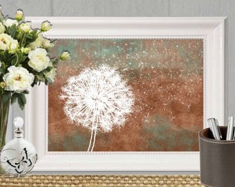 Copper Brown decor Large print 30x40 wall art print Copper Teal flower printable Home decor Abstract White Dandelion art INSTANT DOWNLOAD