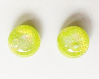 Gorgeous LEMON LIME GREEN 10mm Fused Dichroic Glass Stud Earrings, Post Earrings, Chartreuse, Hypoallergenic  Surgical Steel Posts