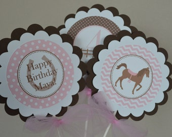 Horse Theme Centerpieces - Horse Birthday Party - Horse Party - Western Party - Western Theme Centerpieces - Set of 3