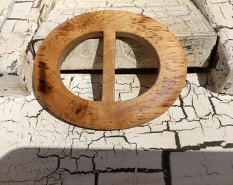 NATURAL WOOD Oval Belt Buckle