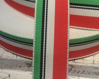 "3 yards 7/8"" Preppy Acetate Stripe Grosgrain Ribbon Orange Green and More"