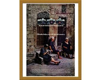 "1969 Minolta 35mm Film SLR Camera Color Print AD / srt 100 srt 101 srt 102 / 6"" x 10"" / Original Print Ad / Buy 2 ads Get 1 FREE"