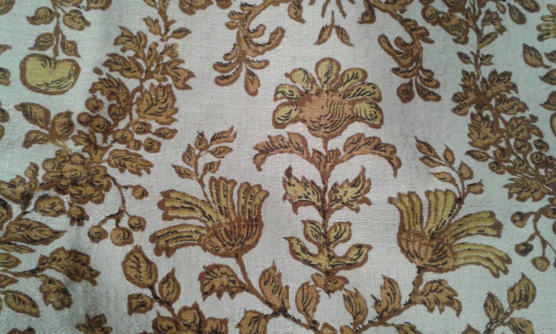 Gorgeous Vintage French Barkcloth Decorator Fabric 1 Yard Plus