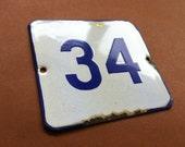 Vintage Antique Enamel Sign Street House Number 34 Porcelain Blue 1960's