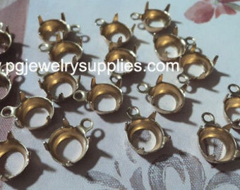 35ss brass open back prong one ring pendant settings 18 pc lot 7.3mm - 7.5mm