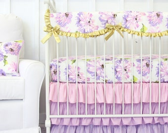 Purple Petunia Ruffle Bumperless Crib Bedding | 2 or 3 piece set in gold and purple baby bedding