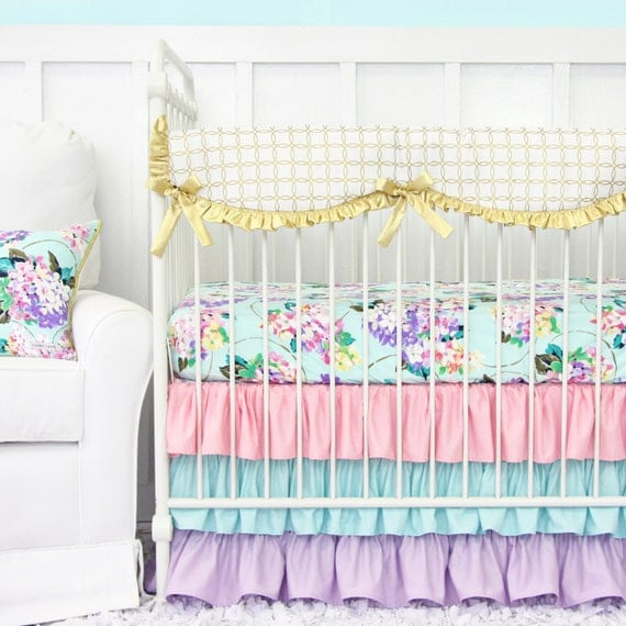 Pastel Nursery Bedding Sets: Holly's Hydrangea Pastel Ruffle Bumperless Baby Bedding
