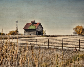 Old Red Barn, Cornfield, Autumn, Windmill, Fence, Rural, Midwest, Textured Vintage Effect