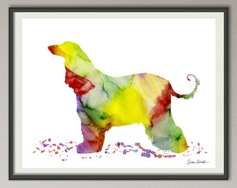 afghan hound art print watercolor print silhouette painting print poster wall art decor, dog painting print