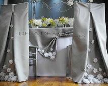 Spring 2015 collection ! Silver Silk Dupioni Chair Cover Hood - Home Party Decor -  Sweetheart Table - Tablescape Wedding Event