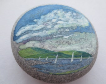 Seascape on pebble,55x55mm,watercolor