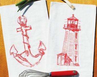 Nautical Tea Towel Set of 2 - Flour Sack Tea Towel - Lighthouse Towel - Anchor Towel - Screen Printed Organic Cotton - Red Printed Towels