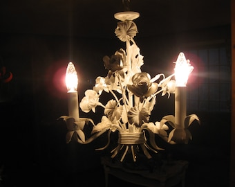 CHARMING,VINTAGE CHIC pure white 3 light tole roses chandelier...