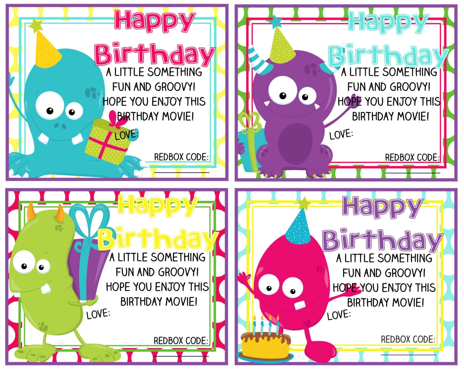 Printable Redbox Birthday Gift Card Happy Birthday MonstersHappy Gift Cards