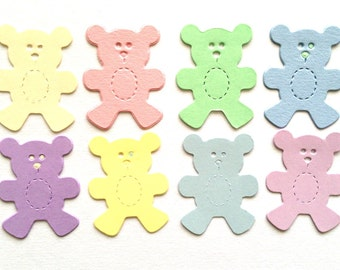 40 Pastel Teddy Bear die cuts for baby cards toppers cardmaking scrapbooking craft projects