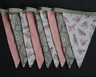 Ballet Slipper, Pink, Grey and White Bunting