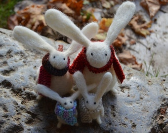 Family Portrait of Needle Felt Rabbits, Handmade,Bunny,Hare,Woodland,Critter,Needlefelt,Animal,Soft Sculpture,OOAK,Fibre Art,Miniature
