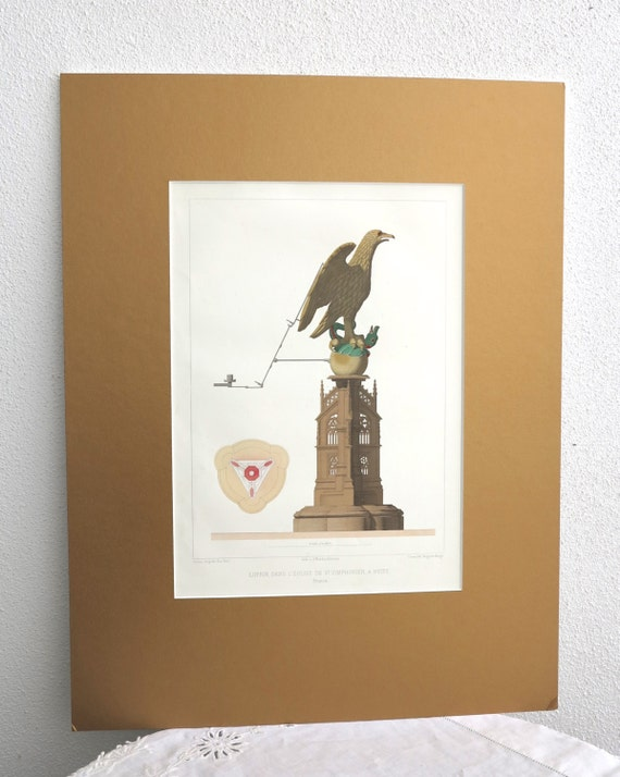 Antique lithographic print, statue of eagle on Gothic building, published in Paris in 1858, gold mat board, 18 x 14 ins