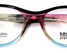 Great Looking RONEX eyeglasses frame. Model 053 Pink Blue Green - Frida Khalo Inspiration