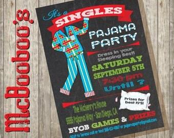 Singles Couples Pajama PJ party invitations